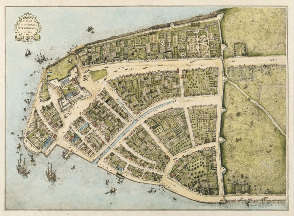 Lower Manhattan in 1660, toen onderdeel van Nieuw-Amsterdam. John Wolcott Adams (1874–1925) and I.N. Phelps Stokes (1867–1944) - New-York Historical Society Library, Maps Collection. Bron: https://nl.wikipedia.org/wiki/New_York_(stad).